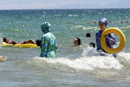 Islamic bathing costumes are becoming more popular in Turkey these days.