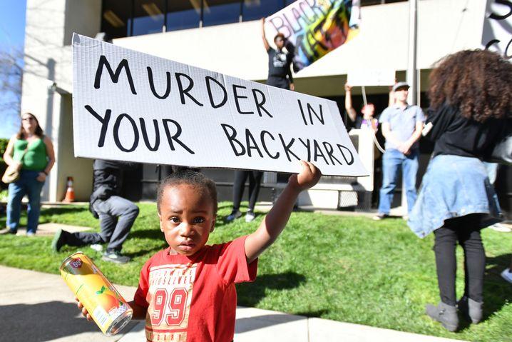 Proteste gegen Polizeigewalt in Sacramento, Kalifornien