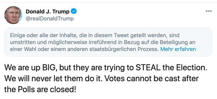Trump-Tweet mit Twitter-Warnung