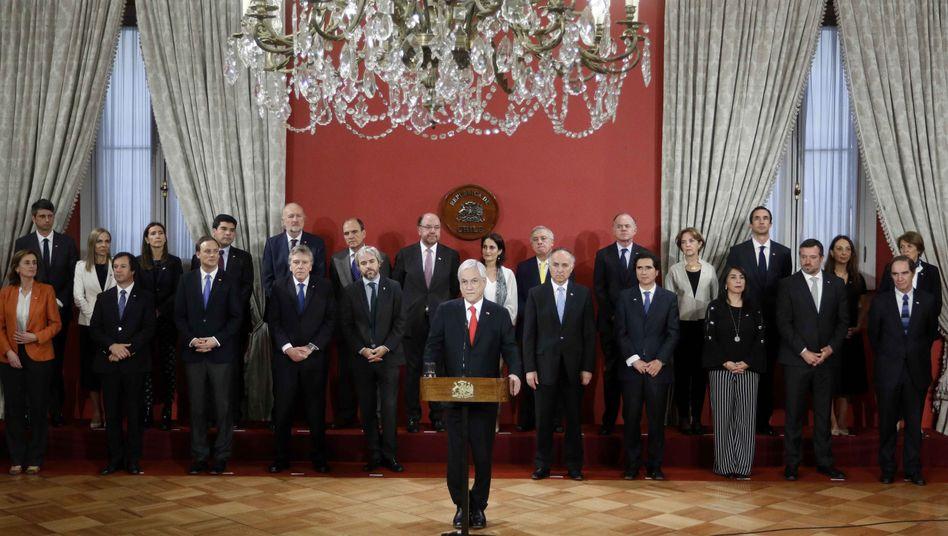 Chiles Präsident Piñera spricht während der Zeremonie zum Kabinettswechsel