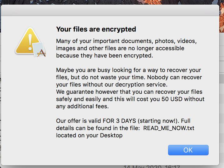 Nachdem EvilQuest heimlich die Festplatte ihres Opfers verschlüsselt hat, erscheint dieser Hinweis auf dem Bildschirm