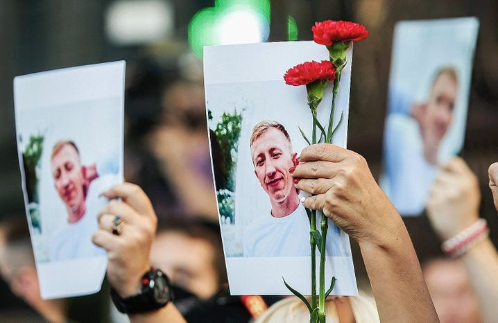 """Demonstrators mourning the death of Vitaly Shishov in Kiev this week: """"We knew that anything was possible."""""""