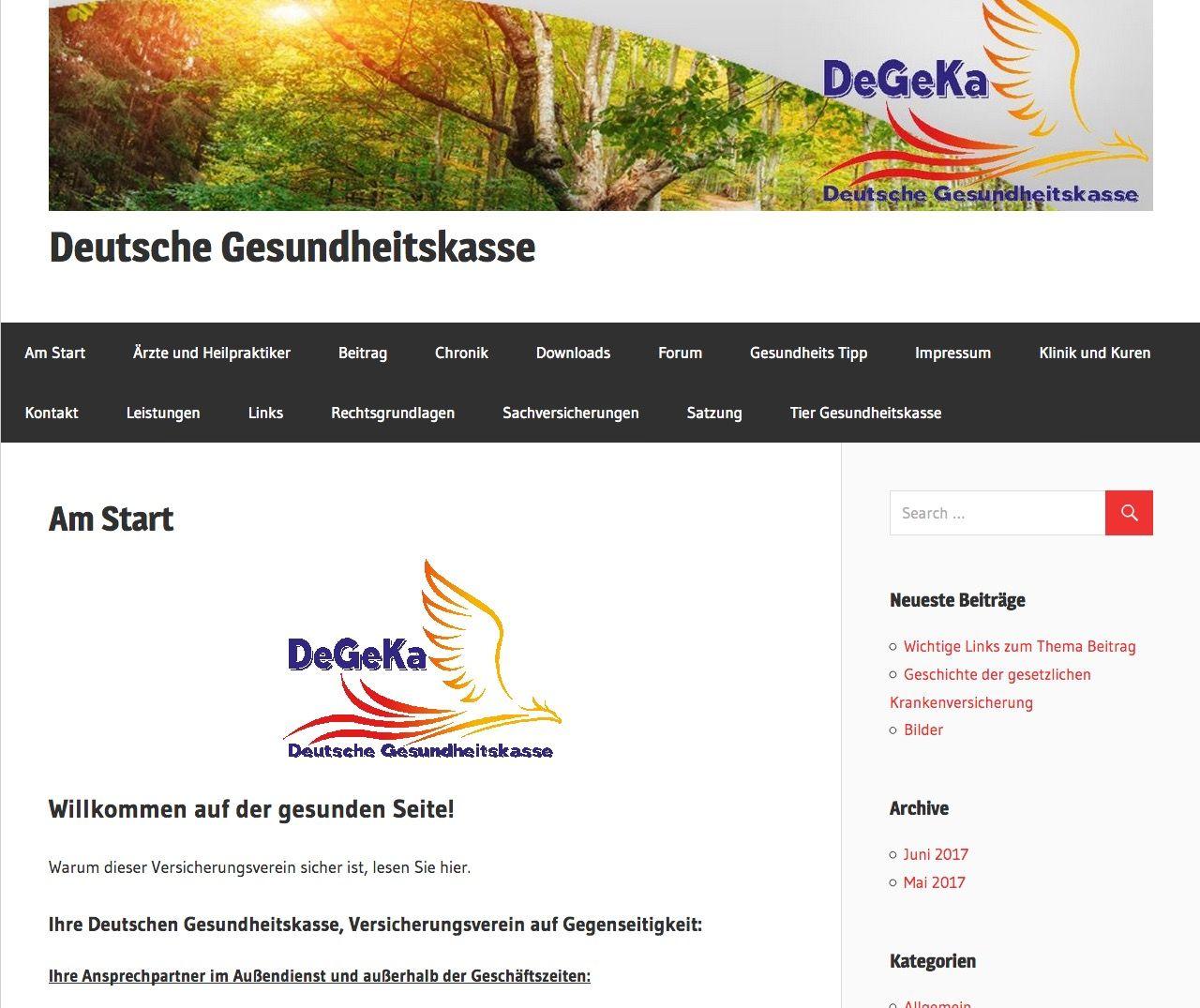 EINMALIGE VERWENDUNG Deutsche Gesundheitskasse / Screenshot