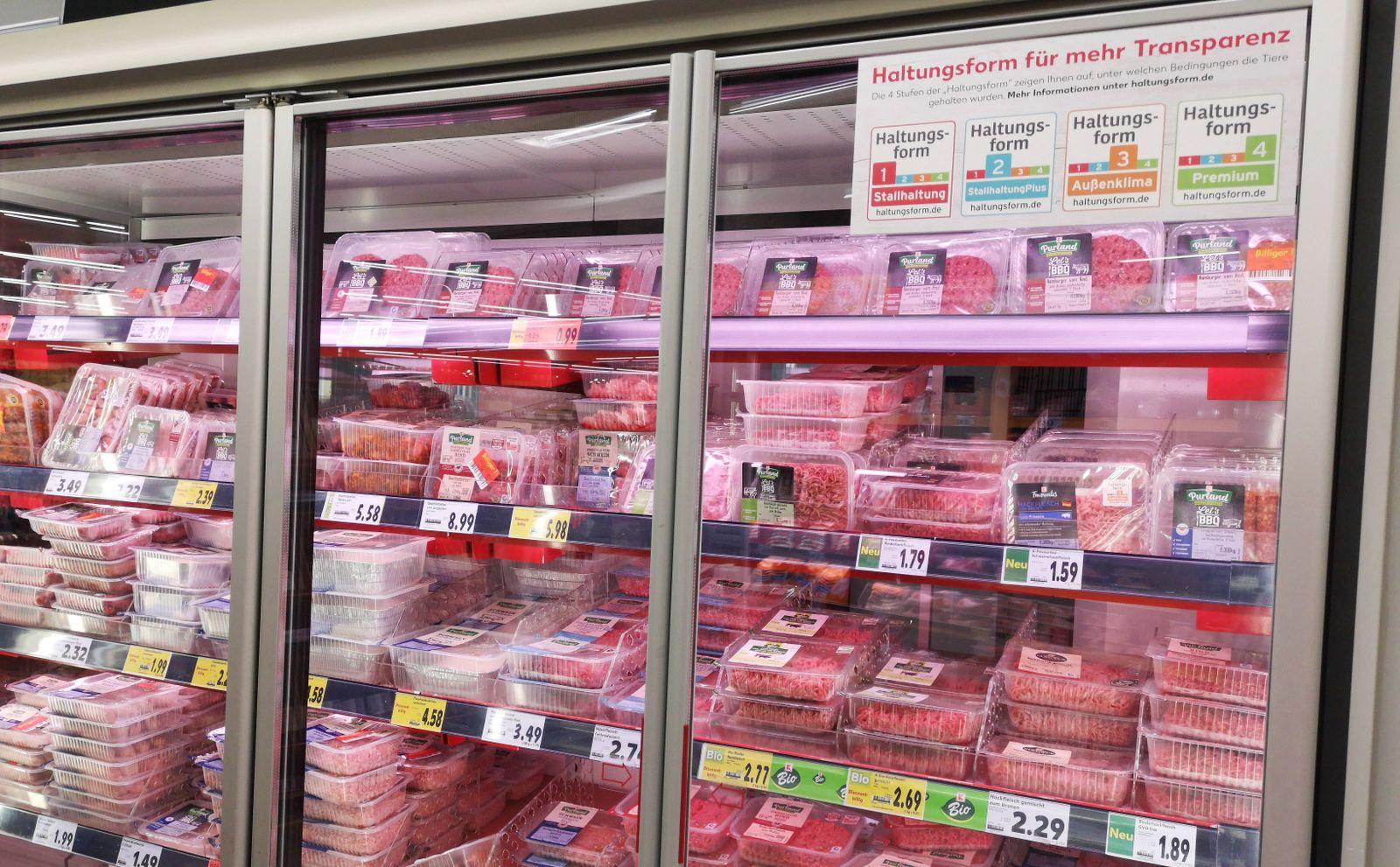 EINMALIGE VERWENDUNG Fleisch Supermarkt