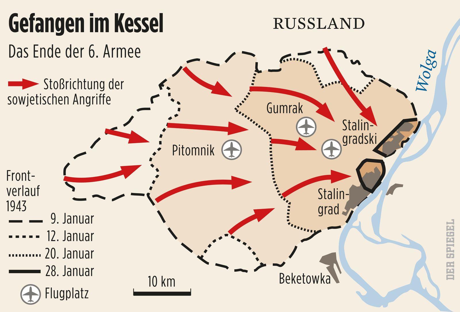 Karte Stalingrad SPIEGEL PLUS SPIEGEL GESCHICHTE 3/2010 S.80