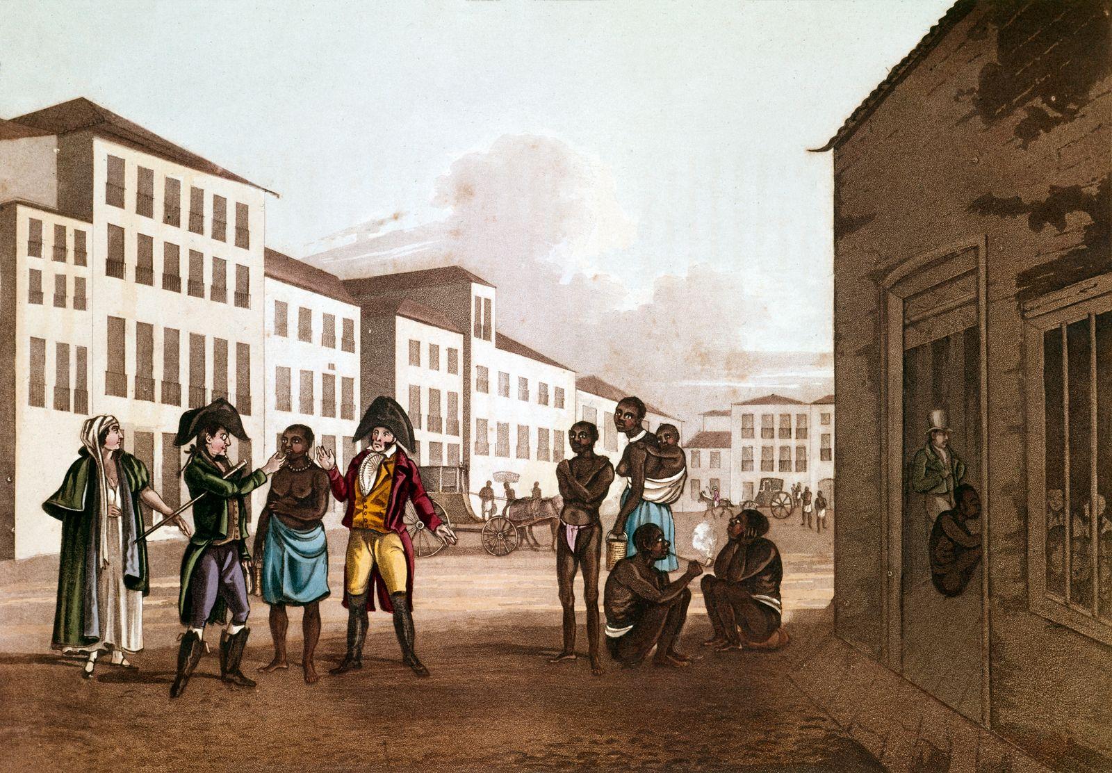 Slave market in Rio De Janeiro, Brazil