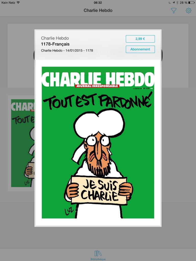NUR ALS ZITAT Screenshot/ Charlie Hebdo/ Digitalausgabe