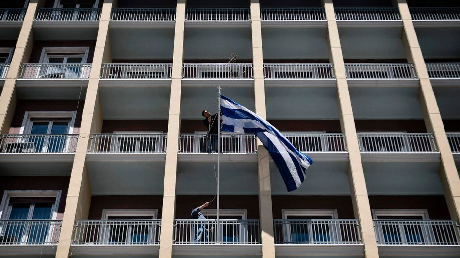 Griechische Flagge in Athen