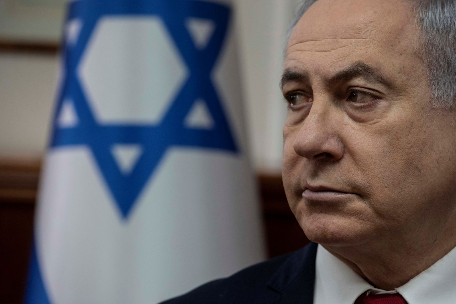 Israeli PM Benjamin Netanyahu attends the weekly cabinet meeting at the Prime Minister's office in Jerusalem