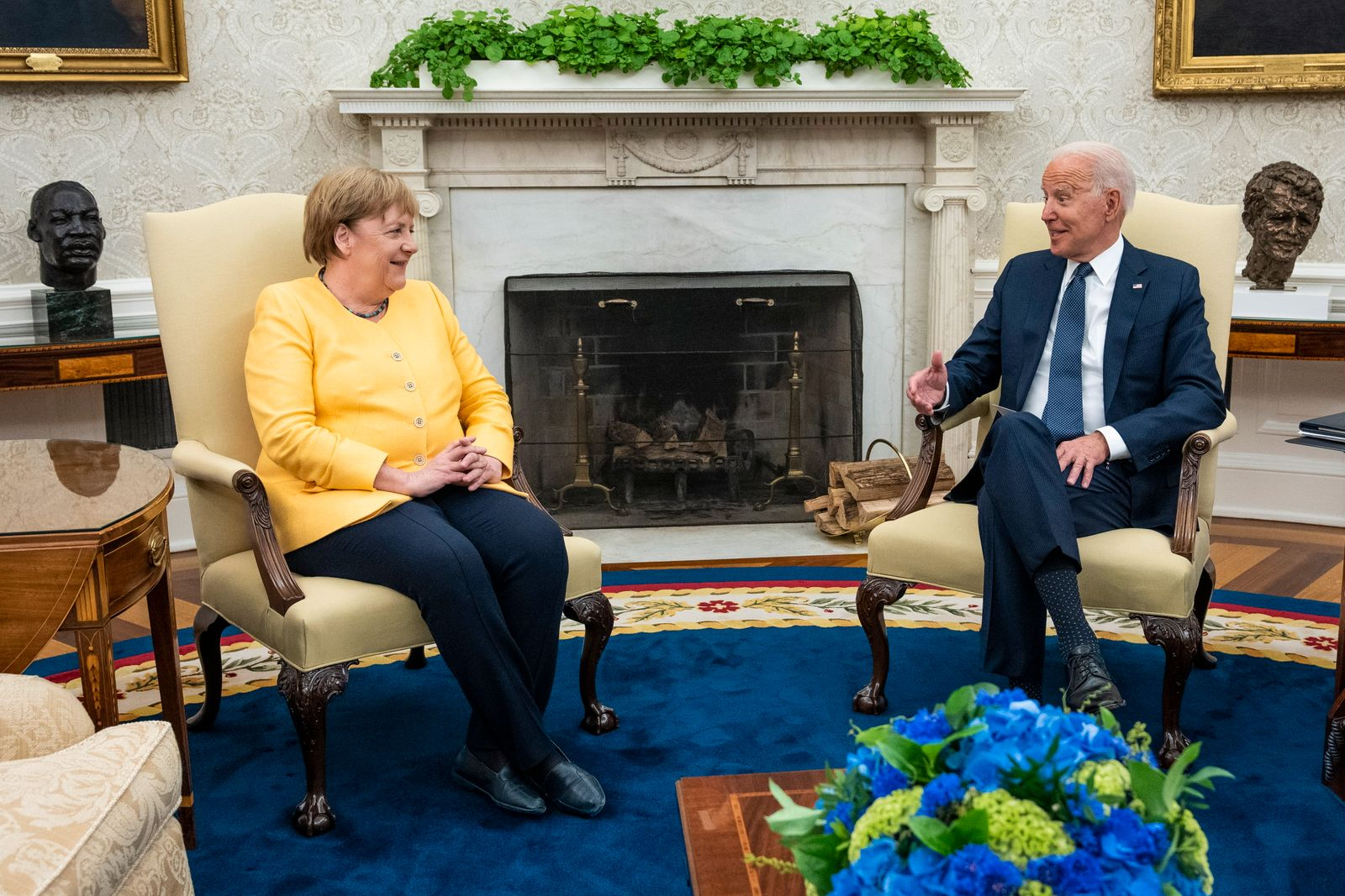 US President Joe Biden meets with German Chancellor Angela Merkel