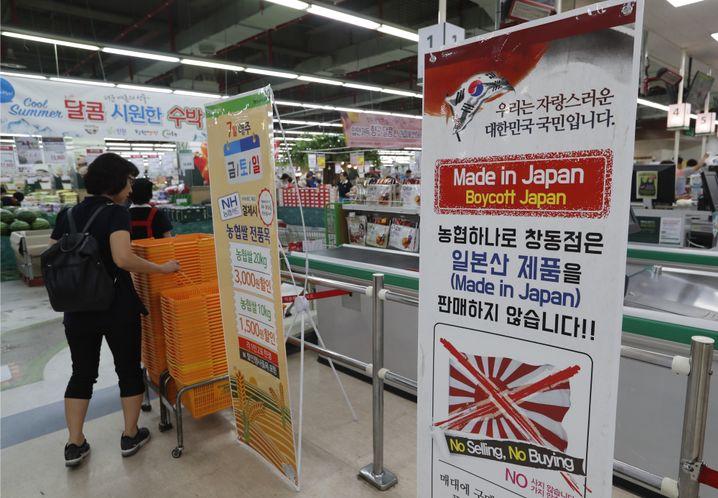 """Boykott in einem Geschäft in Seoul: """"Wir verkaufen keine japanischen Produkte"""""""