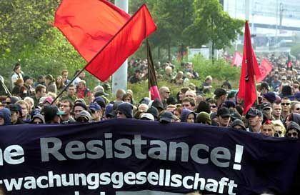 Kurzfristiger Erfolg: Nach der Demo wurde in Leipzig eine Kamera wieder abgebaut