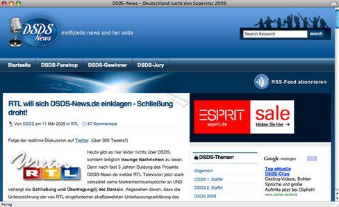 """""""Traurige Nachrichten"""": Der Betreiber von dsds-news.de erzählt öffentlich von der RTL-Abmahnung"""