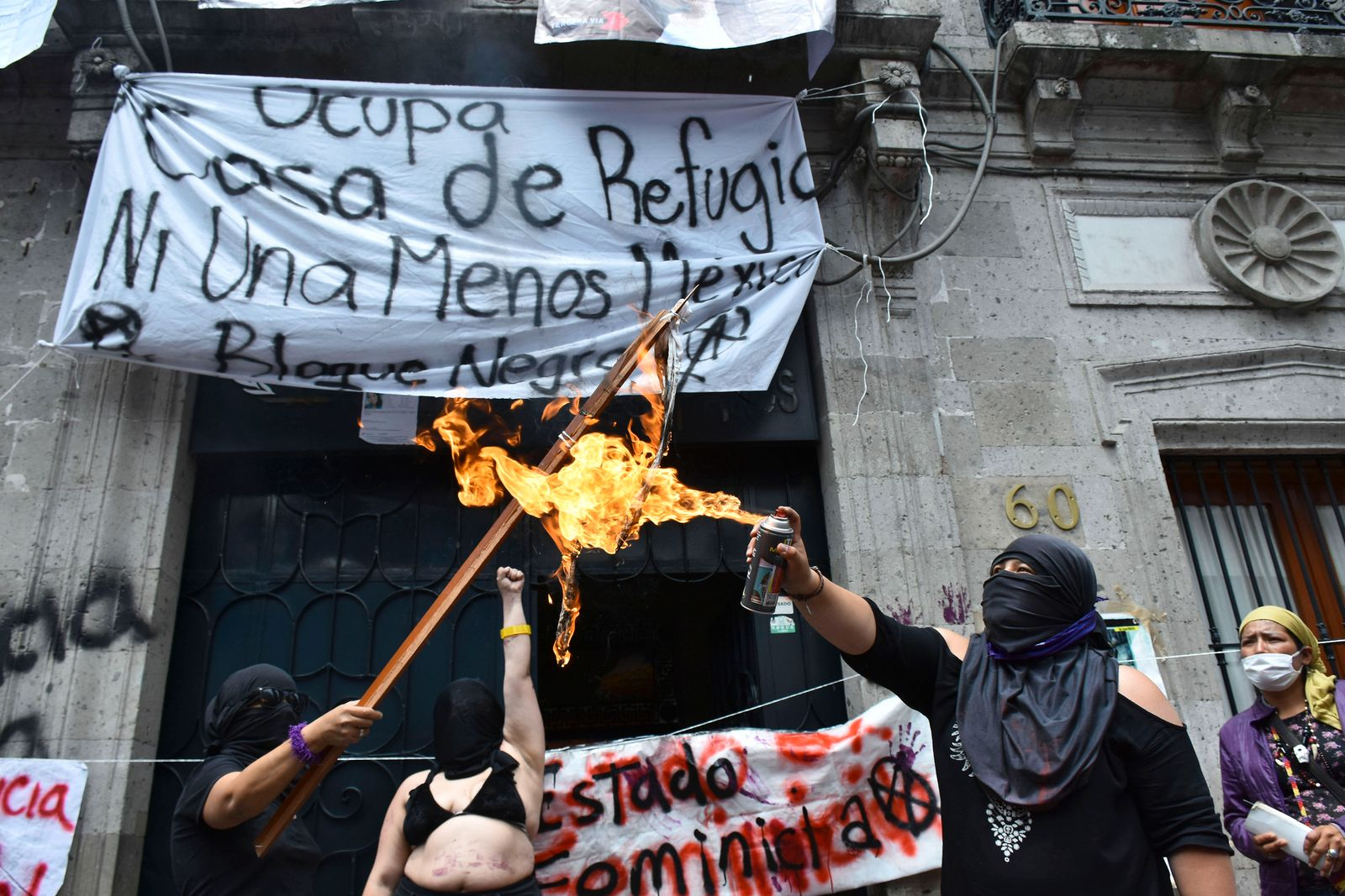 MEXICO CITY, MEXICO - SEPTEMBER 6: During a protest, women seize the facilities of the organization who supposedly shoul