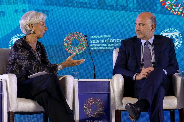 IWF-Chefin Lagarde, französischer Finanzminister Moscovici