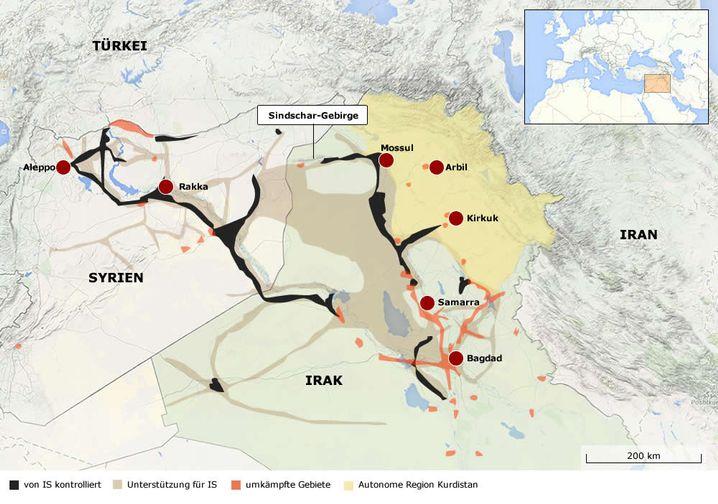 Gebietsverteilung im Irak (Stand: 13. August)