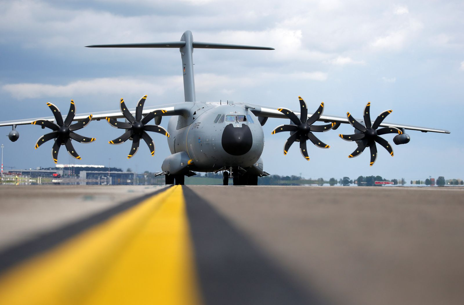 German Defense Minister Ursula von der Leyen and French Minister of the Armed Forces Florence Parly arrive in Airbus A-400 M to visit the ILA Air Show in Berlin