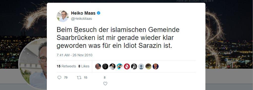 NUR ALS ZITAT Screenshot Twitter/ Heiko Maas