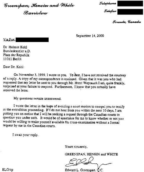 Der Brief an Kohl vom September 2000
