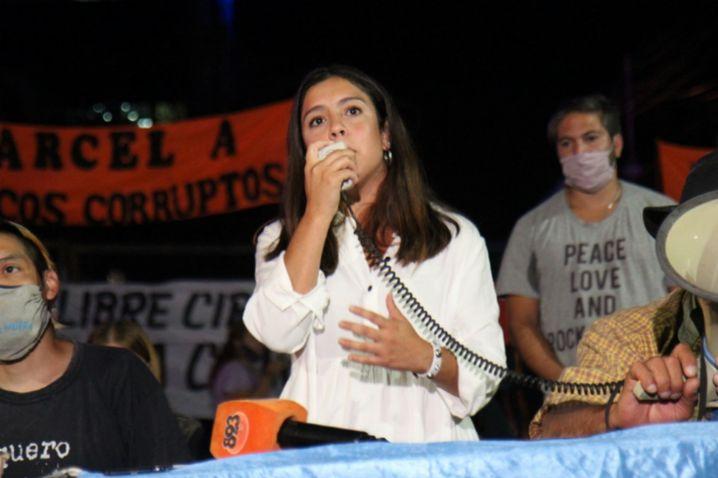 Journalist Julieta González at a protest in Formosa