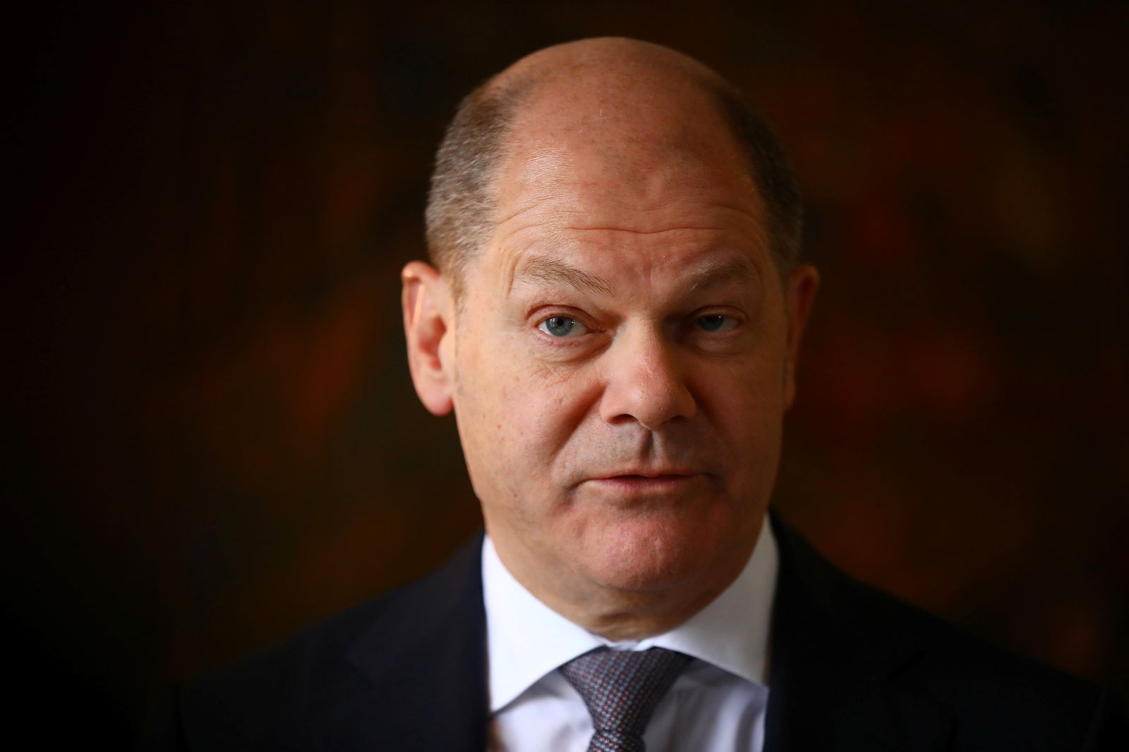 German Finance Minister Olaf Scholz attends a Reuters interview in Berlin