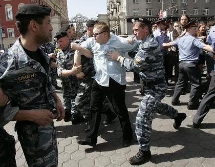 """Policemen deployed at a gay rights march in Moscow in 2006: """"We are talking about morals."""""""
