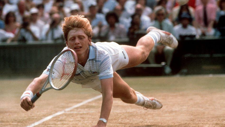 """Welcher Schauspieler schafft den """"Becker-Hecht""""?: Boris Becker in Wimbledon 1985"""