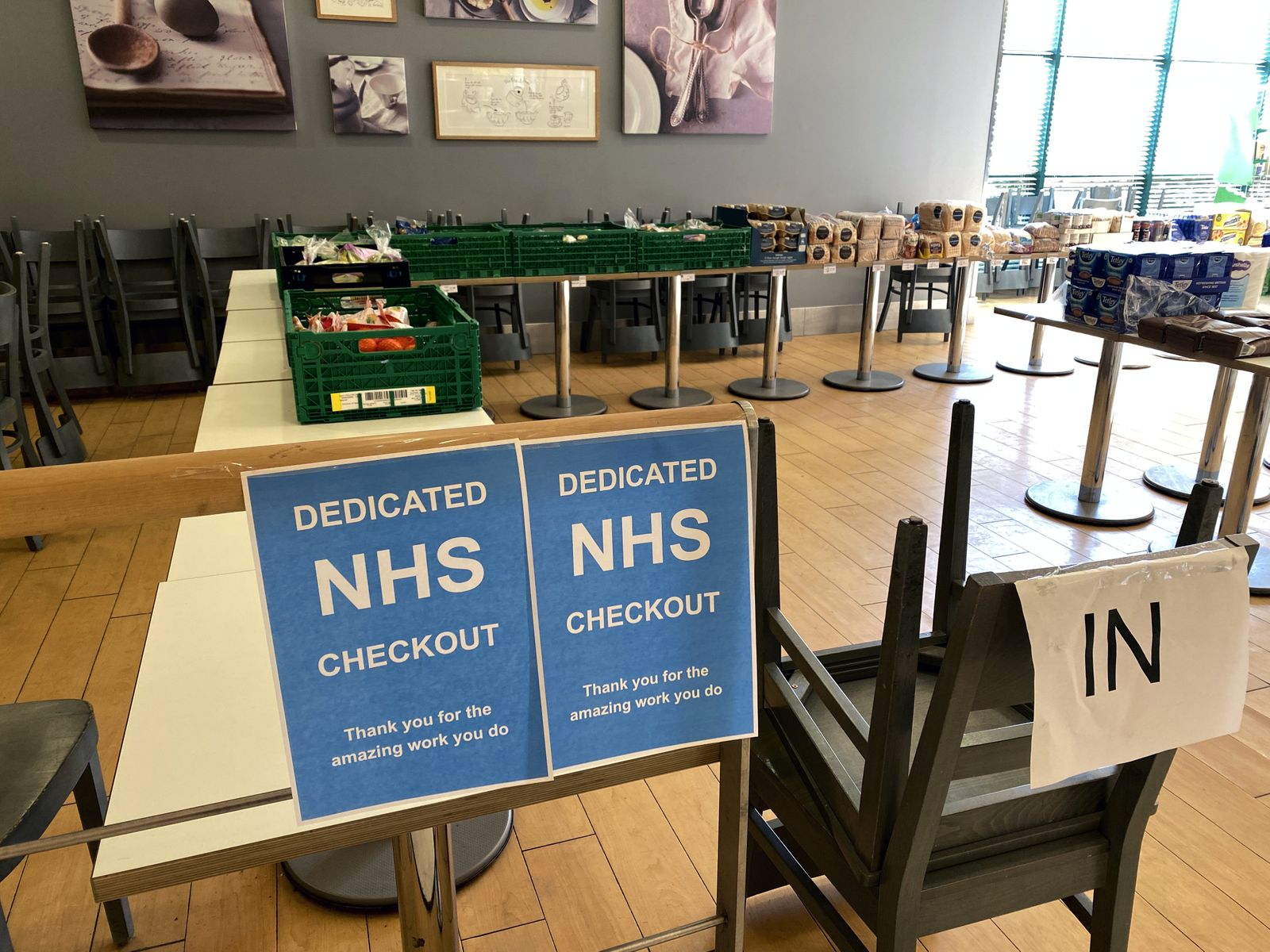A dedicated NHS checkout is seen at a Waitrose supermarket in Berkhamsted