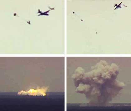 """MOAB-Bombe im Einsatz: die """"Mutter aller Bomben"""" produziert eine Pilz-förmige Rauchwolke"""
