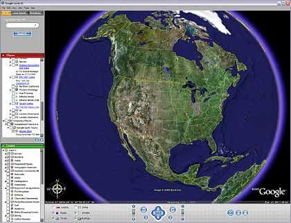 Google Earth: Stadt, Land, Fluss durchsuchen