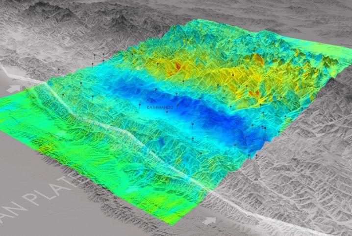 Bodenveränderung nach Erdbeben: Blau zeigt Hebung, Gelb und Rot Senkung
