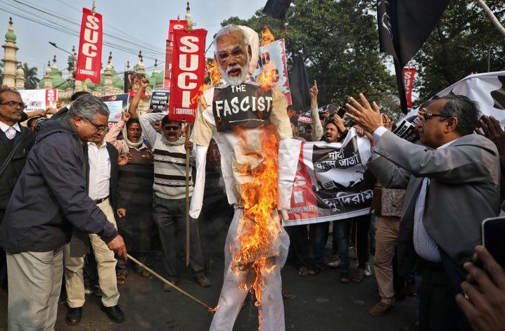 Proteste gegen das umstrittene Staatsbürgerschaftsgesetz von Premier Narendra Modi
