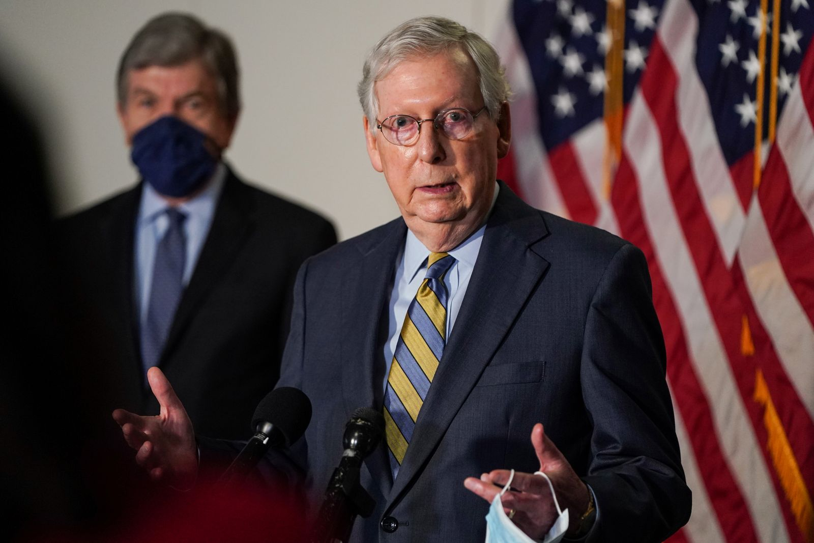 Senate Majority Leader Mitch McConnell (R-KY) speaks to the media in Washington