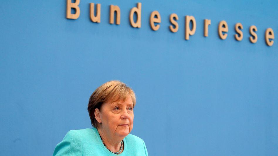 Kanzlerin Merkel in der Bundespressekonferenz