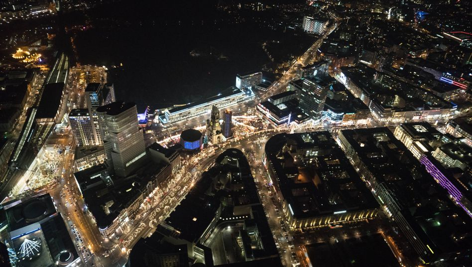 An aerial photo of the site of Monday's terrorist attack in Berlin