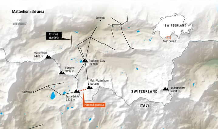 Map of the Matterhorn gondola project