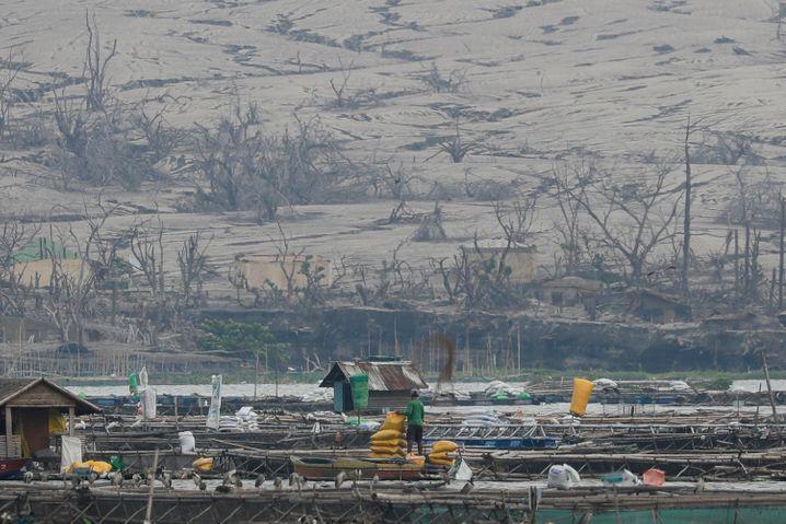 Ein Hügel nahe dem Vulkan Taal ist nach dem Ausbruch am 1. Juli 2021 mit Asche bedeckt