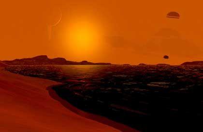 """""""Huygens"""" bei der Fallschirm-Landung auf Titan (Zeichnung): Wüstenei oder Ozean?"""