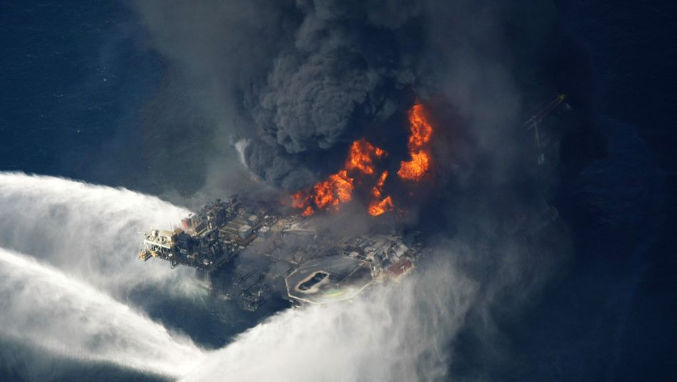 An oil rig burns last week in the Gulf of Mexico off the coast of Louisiana.