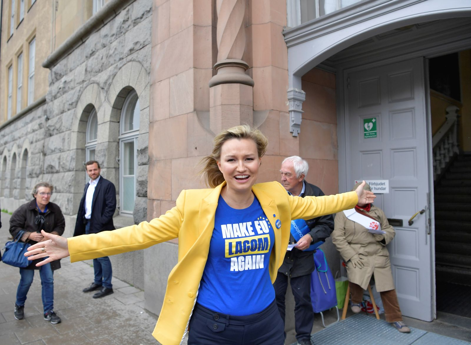 Ebba Busch Thor, Party leader of Sweden's Christian Democrats, distributes candidates lists for the European Parliament elections at a polling station in a school in Stockholm