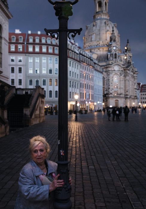 Ursula Elsner on Neumarkt Square. She survived the bombing raids of February 1945 with her family.