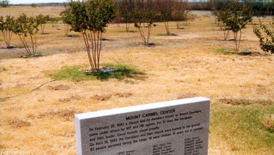 Gedenkstein in Mount Carmel bei Waco (Texas)
