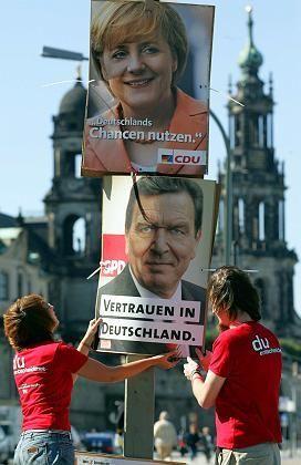 Plakate der Spitzenkandidaten in Dresden: Der Wahlkampf geht weiter