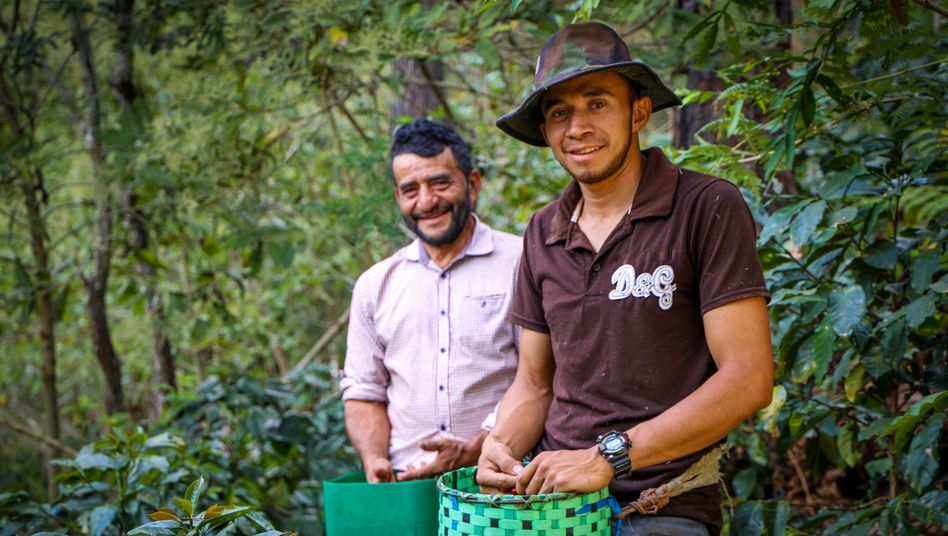 Coffee farmer Israel Rodríguez (right) hopes that he will one day be able to build a house.