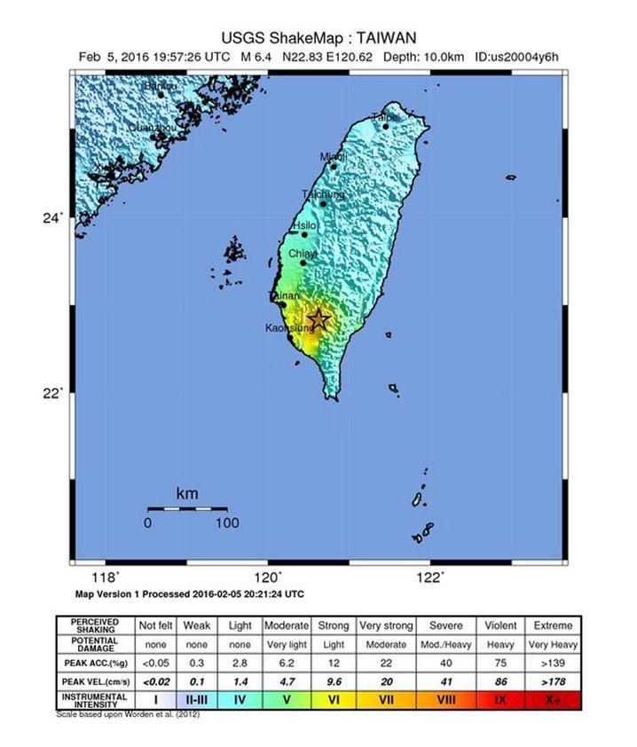 Karte vom Süden Taiwans: Epizentrum nahe der Hafenstadt Kaohsiung