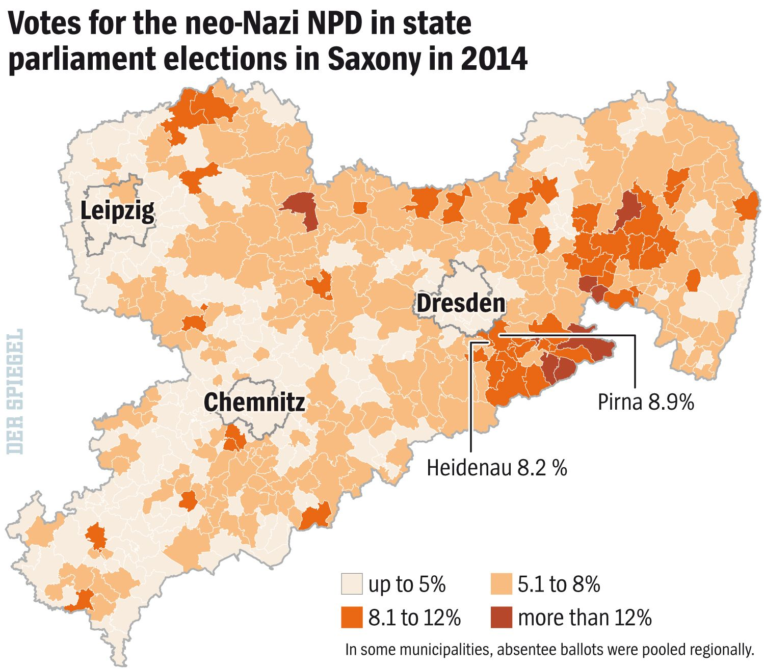 ENGLISH VERSION GRAFIK DER SPIEGEL 36/2015 Seite 32 - Votes for the neo-Nazi NPD
