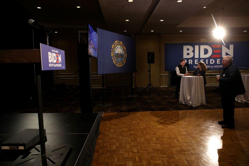 Ab in wärmere Gefilde: Joe Bidens verlassene Wahlparty in New Hampshire