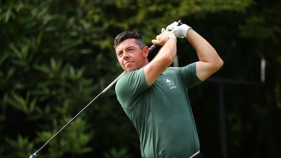 Rory McIlroy, bei Olympia passend im irischen Grün antretend
