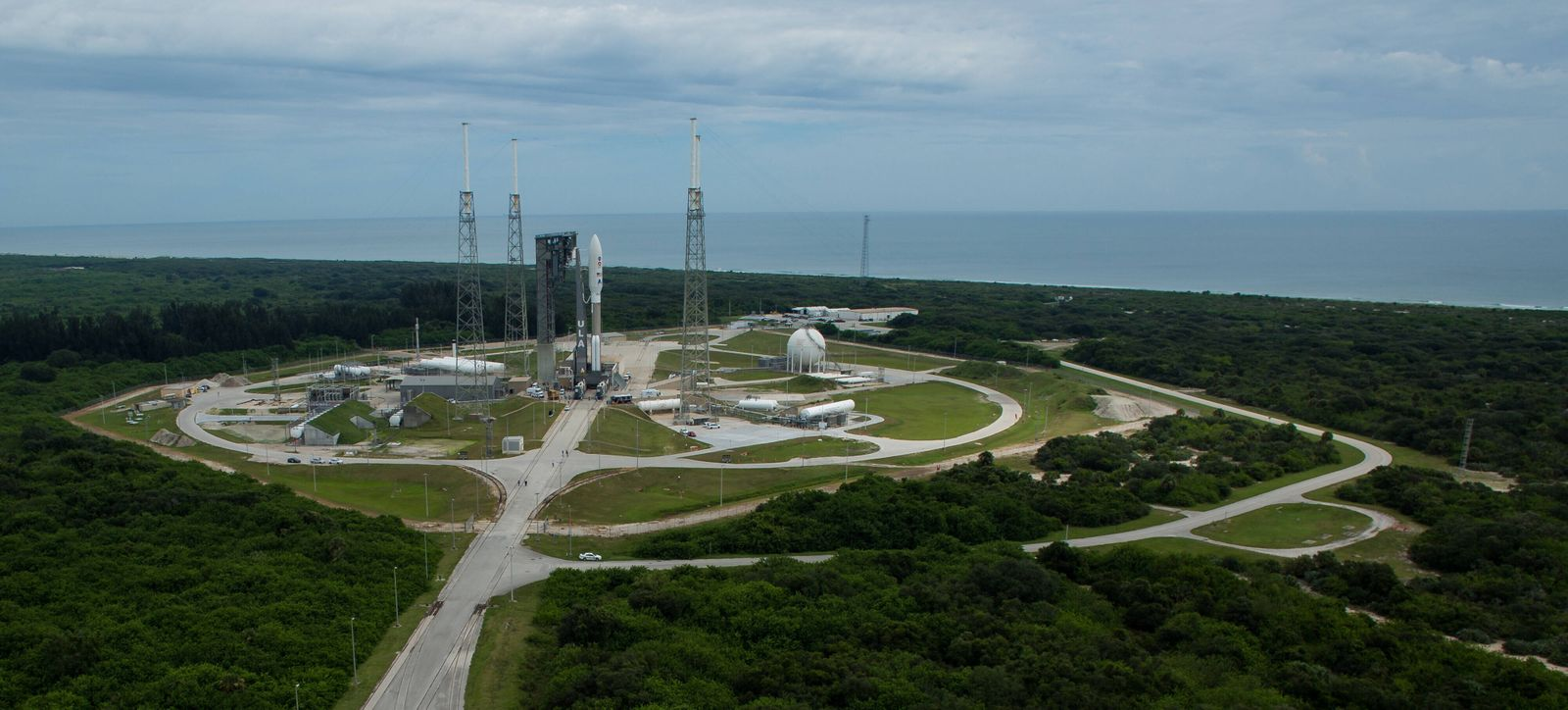 A United Launch Alliance Atlas V rocket with NASA s Mars 2020 Perseverance rover onboard is seen on the launch pad at Sp
