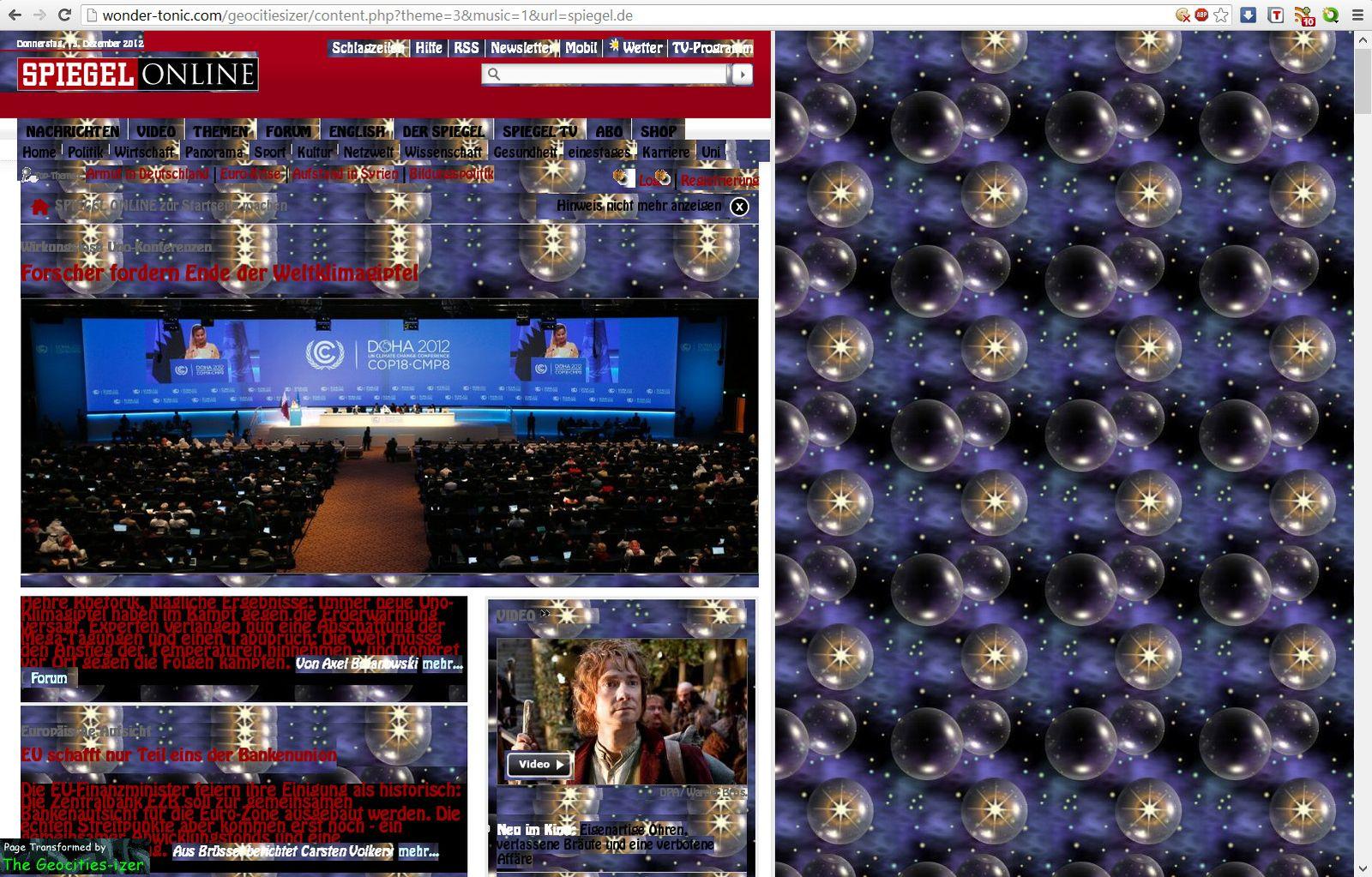 NUR ALS ZITAT Screenshot troll-Retromaschinen / geocities